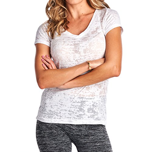 Tough Cookie's Junior Women's Single Plain Burnout V-Neck Top Tee (Small, White)