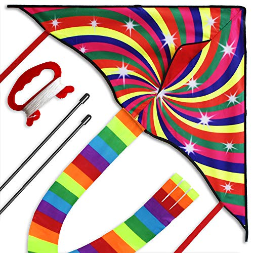 Colorful Kite for Kids and Adults, Great Beginner Kite Toy,...
