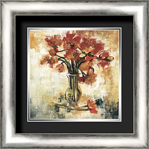 Symphony of Poppies 20x20 Silver Contemporary Wood Framed and Double Matted (Black Over Silver) Art Print by Jardine, Liz