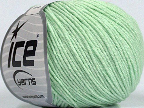 Lot of 8 Skeins ICE ALARA (50% Cotton) Hand Knitting Yarn Mint - Alara Mint