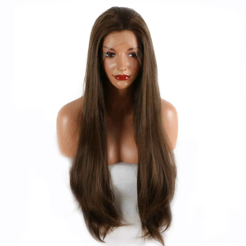 Natural Brown Color Drag Queen Wig Long Synthetic Hair Handmade Lace Front Wigs For Women Party Cosplay Festival Holidays Wigs 26'