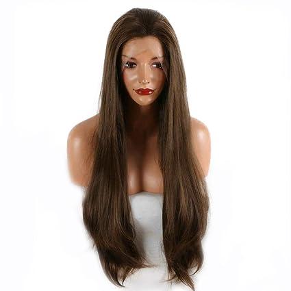 Peluca de pelo largo y liso, color marrón natural, resistente al calor, pelo