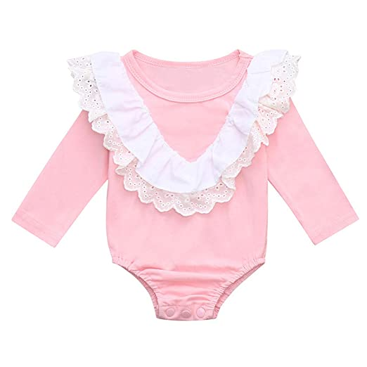 9f010e5d40 Amazon.com  Sameno Fashion Newborn Infant Baby Girl Long Sleeve Lace  Ruffled Romper Bodysuit Clothes  Clothing