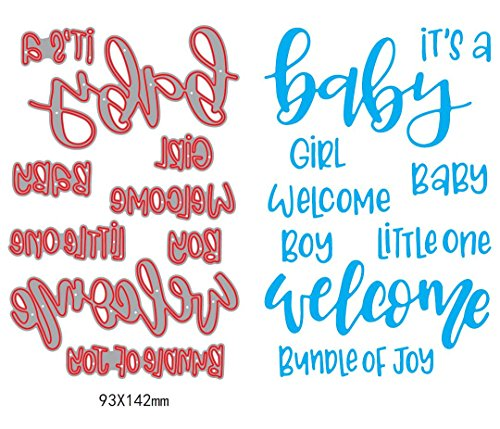 1set Welcome it is a baby girl boy Sentiment Dies cuttings+ clear stamp Metal Scrapbooking Stencils Die for DIY Embossing Photo Album Decorative DIY Paper Cards Making Craft