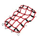 MOHERO 1/10 RC Elastic Luggage Net with Hook for 1:10th RC Vehicles RC Crawler Truck Car D90 TRX4 Roof Rack Red