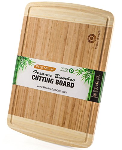 NON-SLIP, Extra Large Organic Bamboo Cutting Board| DEEP Juice Grooves | Wooden Chopping Board for Meat (Butcher Block), Vegetables, Fruit, Cheese| Best Wood Serving Tray (18x12) by PRISTINE (Non Slip Chopping Board)