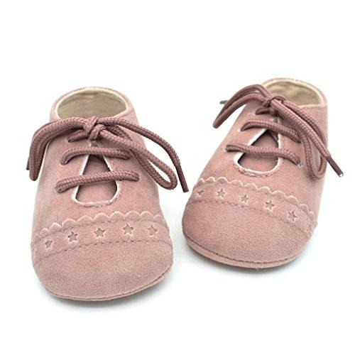 HUHU833 Unisex-Baby Neugeborene Säuglingsbaby Soft Crib Schuhe, Kleinkind Schuhe, Krippe Schuhe Runde Zehe weiche alleinige Anti Rutsch Schuhe Rosa