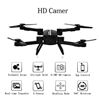 RC Drone with Camera FPV Fold Remote Control/Cell Phone RC Quadcopter Alititude Hold Gravity Sensor Helicopter With 0.3MP HD Camera RC Toy Drones by WOBOX