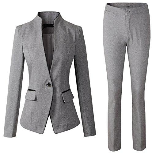 Sarety+Women%27s+Business+OL+Work+Slim+Fit+Blazer+Jacket+Skirt+Pants+Suit+Set+gray%28Blazer%2BPants%29+US+L-Label+XXL