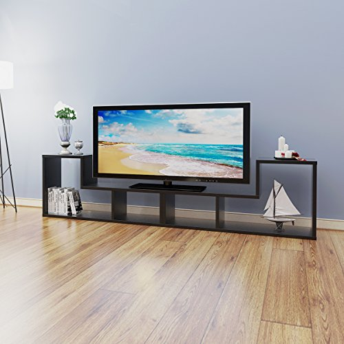DEVAISE TV Stand / 2 Pieces Bookcase / Bookshelf (B-Black) (Tv Book Case)