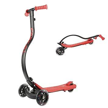 Fascol Scooter Patin Plegable 3 Ruedas Luminosas para Niños de Más de 4 Años MAX Carga 60 kg,Rojo