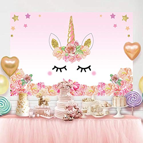 Unicorn Backdrop Photography Birthday Party Background with Pink Flower Gold Glitter Star Vinyl Photo Backdrops for Girls Baby Shower Cake Table Decorations Studio Props (5x3ft, Unicorn)