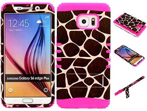 Galaxy S6 Edge Plus Case, Wireless Fones TM Kickstand Tough Armor Cover Giraffe Animal Print Snap on Over Pink Skin for Galaxy S6 Edge Plus (Koolkase Samsung Galaxy S4 Case)
