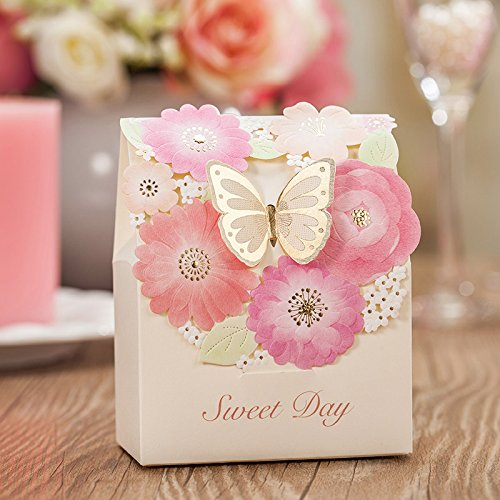 dngcity Wedding Candy Box Gold Butterfly PinkFlower Bridal Shower Boxes -100pieces (Big)