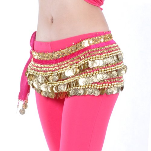 BellyLady Multi-Row Gold Coins Belly Dance Skirt Wrap & Hip Scarf, Gift Idea-ROSERED (Gold Usa Coins)
