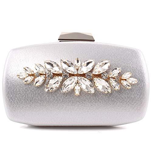 "Unze Unze Women""DONNA"" Evening Carved Brooch Shimmer Clutch Bag Silver"
