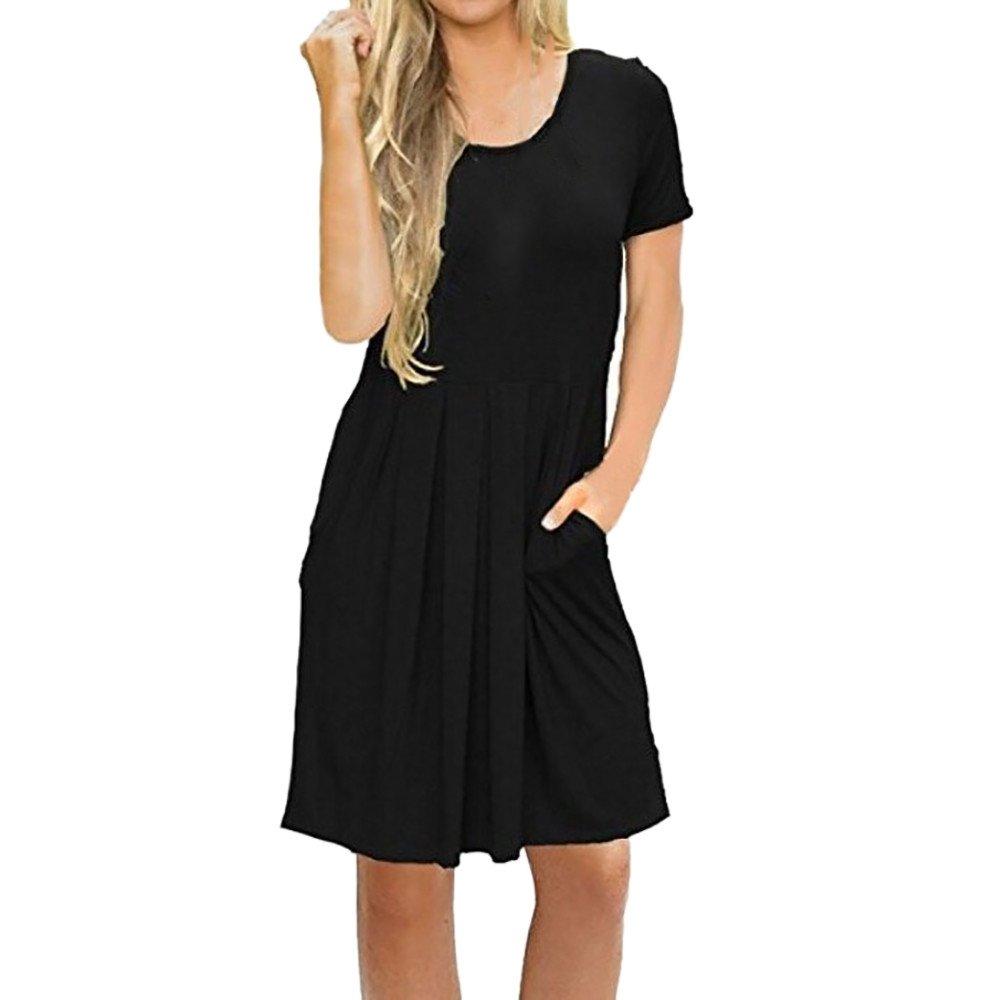 Women's Summer Casual T Shirt Dresses Short Sleeve Swing Dress with Pockets Black