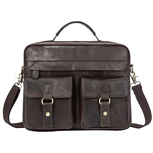 GTUKO Männer Aktentasche Echtes Leder Handtaschen Leder Tasche Crossbody Taschen Messenger Laptop Tasche Business Vintage Schulter 8001 , Kaffee A Kaffee A
