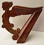 Angel Figure Shaped Harp Hand Carved and Engraved 12 String Great Craftsmanship