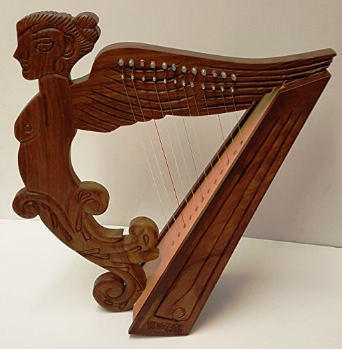 Angel Figure Shaped Harp Hand Carved and Engraved 12 String Great Craftsmanship by Sturgis