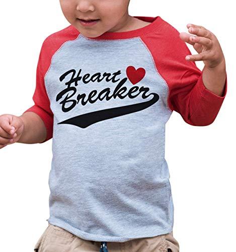 7 ate 9 Apparel Kids Heart Breaker Happy Valentine's Day 4T Red Raglan (Peel Transfer T-shirt)