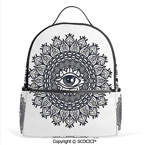(Hot Sale Backpack outdoor travel Vintage Circular Occult Pattern Knowledge of the Hidden Third Eye Providence Symbol,Grey,With Water Bottle Pockets)