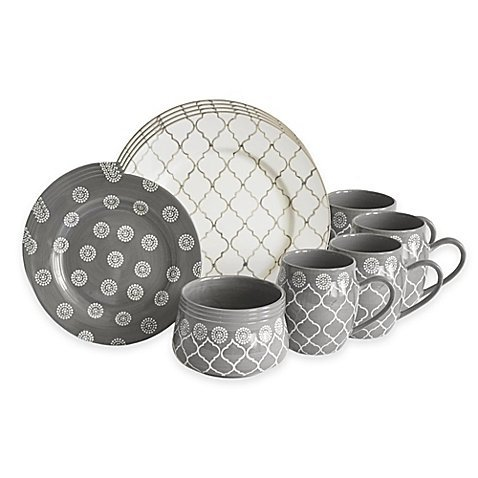 Baum Moroccan 16-Piece Dishwasher and Microwave safe Dinnerware Set in Grey/Ivory