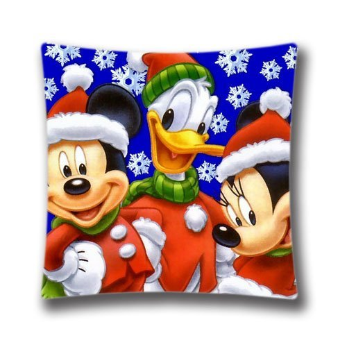 Merry Christmas Christmas Mickey Mouse Christmas Square Pillowcase Pillow Case Cover 18x18 Inch (Christmas Decorations Clearance Online)
