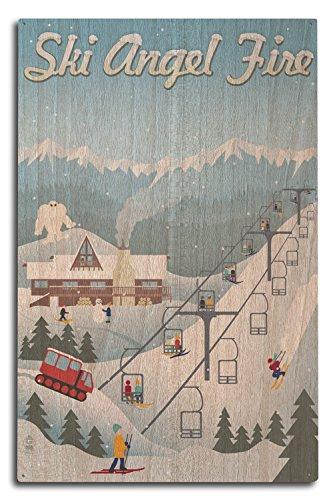(Lantern Press Angel Fire, New Mexico - Retro Ski Resort (10x15 Wood Wall Sign, Wall Decor Ready to Hang))