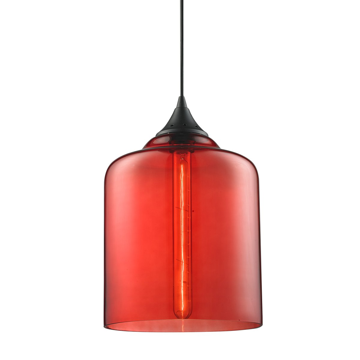 Modern Industrial Vintage Glass Globe Pendant Light - MKLOT Minimalist Eco-Power Edison Style 7.09'' Wide Hanging Chandelier Ceiling Lighting Mounted Fixture with Red Glass