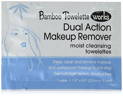 Bamboo Towelette Works Dual Action Make-Up Remover Moist Cleansing Towelette, 50 Count