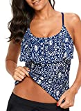 HOTAPEI Womens Tankini Tops with Bra Summer Fashion Print Ruffle Front Strappy Cut Out Racerback Sim Fit Beach Swimsuit Tops Bathing Suit Tops Swimwear Top Swim Top Push Up Blue Small
