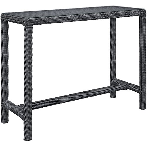 Modway Summon Outdoor Patio Glass Top Rectangle Bar Table, Gray by Modway