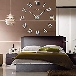 FAS1 Modern DIY Large Wall Clock Big Watch Decal 3D Stickers Roman Numerals Mute Wall Clock Home Office Removable Decoration - Silver (Battery NOT Included)