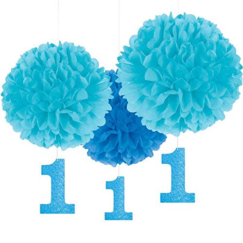 Amscan Party Supplies 1st Birthday Fluffy Decorations w/ Dangler, Blue, Assorted Sizes, 3 ct