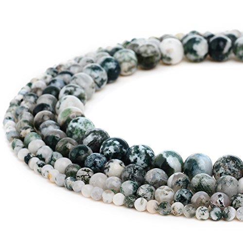 RUBYCA Natural Tree Agate Gemstone Round Loose Beads White Green for Jewelry Making 1 Strand - 8mm