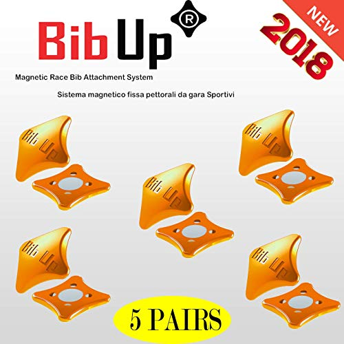 (BIBUP Magnetic Race Number Attachment System (Orange Fluo))