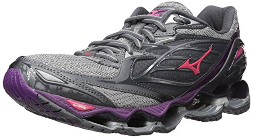 Mizuno Running Women's Wave Prophecy 6 Shoes, Griffin/Paradise Pink/Grape Juice, 1050 B (Womens Prophecy Sport Shoe)