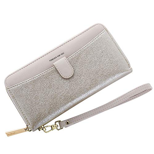 Cyanb Women Bifold Clutch Wallets Iphone Wristlet Purses for Women Lady with Zipper and Wrist Strap Silver