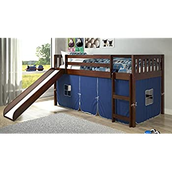 donco kids twin mission blue tent loft bed with slide kitchen dining. Black Bedroom Furniture Sets. Home Design Ideas