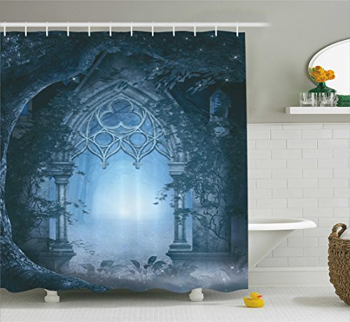 Fantasy House Decor Shower Curtain Set by Ambesonne, Passage Doorway Through Enchanted Foggy Magical Palace Garden Night Scenery, Bathroom Accessories, 84 Inches Extralong, Navy Gray