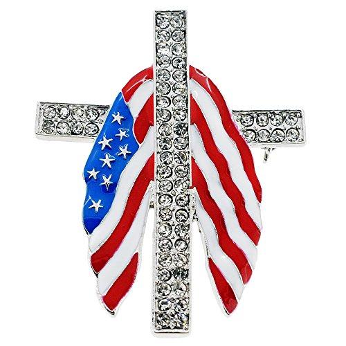 (American Flag Cross Crystal Pin Brooch)