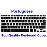 """HRH Portuguese Language Keyboard Cover Silicone Skin for MacBook Air 13 and MacBook Pro 13"""" 15"""" 17"""" (with or w/out Retina,Not Fit 2016 Macbook Pro 13 15 with/without Touch Bar)Both EU/US Layout"""