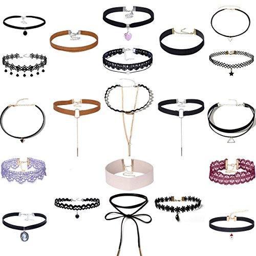 Tpocean 21Pcs Good Quality Vintage Lace Tattoo Choker Set Gothic Velvet Necklaces Black Sexy Choker (Cheap Tattoo Choker)