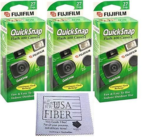 Fujifilm QuickSnap Flash 400 Disposable 35mm Camera + PURE FIBER USA Microfiber Cloth (3 Pack)