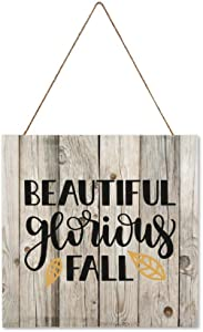 DONL9BAUER Beautiful Glorious Fall Harvest Hanging Wood Sign Plaque Wall Decor Sign Autumn,Farmhouse,Seasons Rustic Wall Art for Living Room Indoor Outdoor