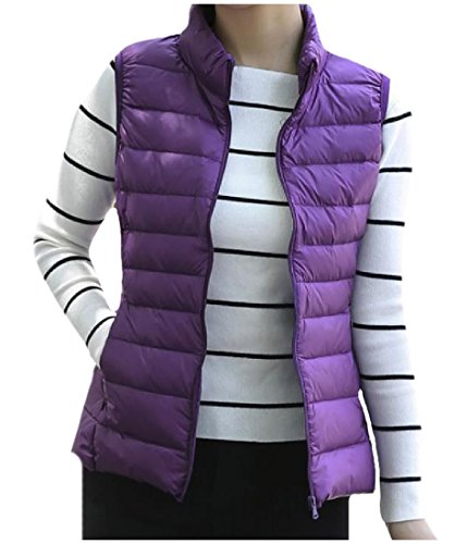 Purple Pockets Solid Womens Zip AngelSpace Jacket Sleeveless up Collar Parka Stand IwTqvXZ
