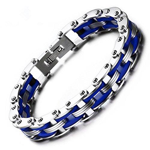 LBFEEL Stainless Steel Silicone Motorcycle Bike Chain Bracelet in 6 Colors (Bike Chain Bracelet)