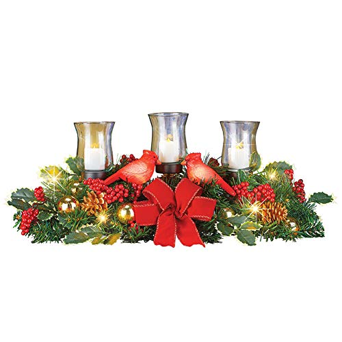 Winter Cardinals Centerpiece with LED Candle Holders