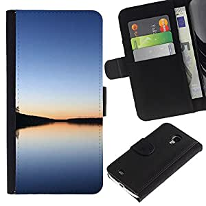KingStore / Leather Etui en cuir / Samsung Galaxy S4 Mini i9190 / Lago tranquilo